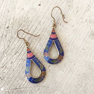 Vintage Novelty Cloisonne Enamel Teardrop Earrings